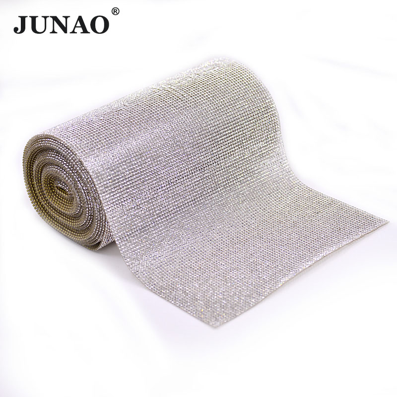 JUNAO 5Yard Clear Rhinestones Fabric Trim Glass Beads Mesh Strass Applique Cloth Hotfix Bride Crystal Stones For Wedding Dress