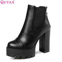 QUTAA 2018 Soft PU Zipper Punk Shoes Women Square High Heel Ankle Boots Platform Snow Boots