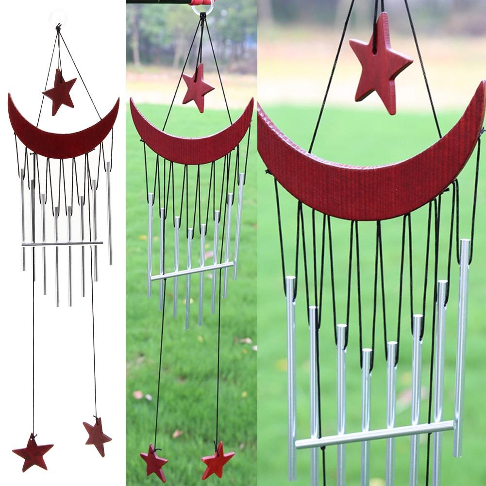 9 Tubes Moon Star Windchime Yard Garden Outdoor Living Wind Chimes ...