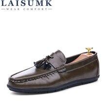 LAISUMK 2020 High Quality Leather Slip On Men Shoes Luxury Brand Loafers Italian Leather Men Shoe Casual Men Flats Shoes цена 2017