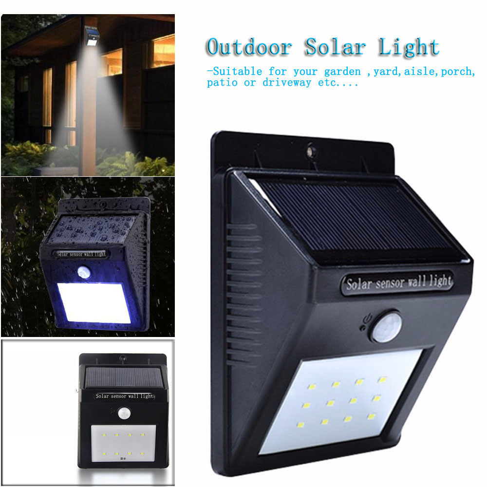Waterproof LED Solar Light Motion Sensor Outdoor Solar Wall Light Lamp lighting for Garden Yard Path