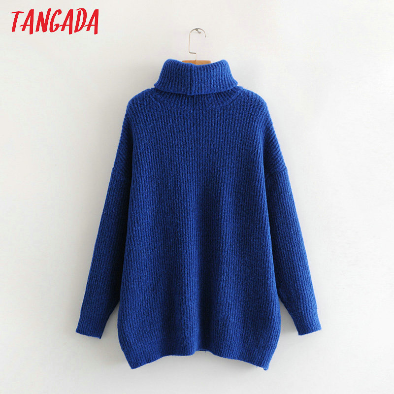 Tangada women jumpers turtleneck sweaters oversize winter fashion 19 long sweater coat batwing sleeve christmas sweate HY135 18