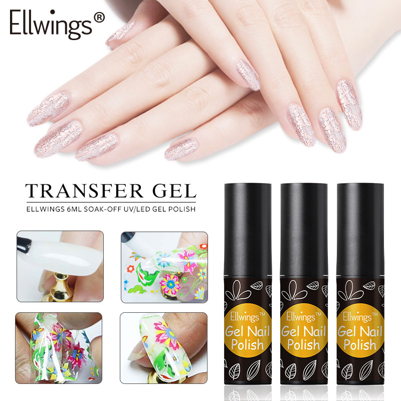 Ellwings Transparent Nail Foil Gel Starry Sky Transfer Paper Clear Gel Need To Use With Foil Professional Nail Art