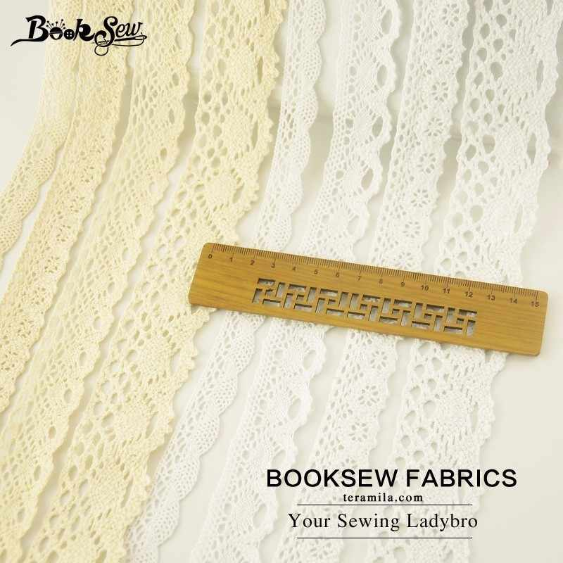 Booksew 100% Cotton Lace Fabric White and Beige Ribbon DIY Sewing Wedding Scrapbooking Craft 5yard/lot Width 2CM/2.5CM/3CM/4CM