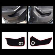 цена на 4pcs Fabric Door Protection Mats Anti-kick Decorative Pads For Mazda CX-5 2013-2015