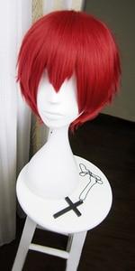 Image 2 - Suikast sınıfı Karma Akabane/Akashi Seijuro/Sasori Kısa Alev Kırmızı Cosplay Peruk Kostüm Yüksek Sıcaklık Fiber
