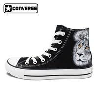 Black Converse All Star Men Women Shoes Animal King Lion Original Design Hand Painted Canvas Sneakers Man Woman
