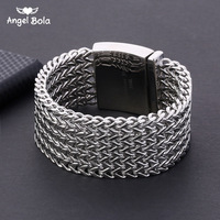 Buddha Bracelet 30mm*22cm Silver color 316L Stainless Steel Five Times Foxtail Box Link Banglet Mens Boys Jewelry with Logo
