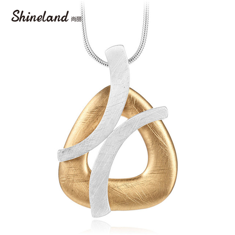 Shineland Unique Punk Women Gold Silver Color Handmade Drawing Brushed Geometric Hollow Pendant Necklace Long Statement Bijoux delicate resin coin hollow out geometric statement necklace for women