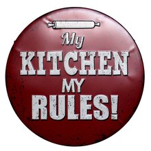 30CM My Kitchen My Rules Retro Metal Tin Signs Cafe Bar Pub Signboard Plates Wall Decor Plaque Vintage Home Wall Stickers N175(China)