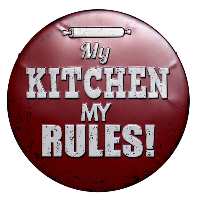30CM My Kitchen My Rules Retro Metal Tin Signs Cafe Bar Pub Signboard  Plates Wall Decor Plaque Vintage Home Wall Stickers N175