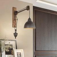 Лофт ретро лампа винтажный подъемный шкив настенный светильник для столовой ресторана коридора паба кафе настенный абажур канделябр
