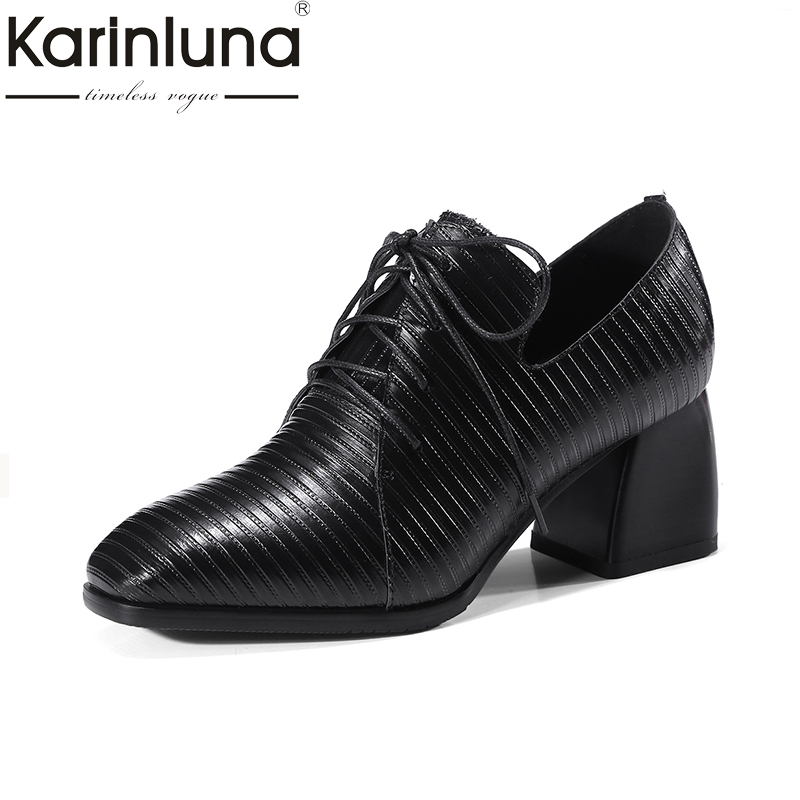 KARINLUNA Genuine Leather Large Size 34-42 Women Pumps Lace Up Platform Shoes Woman Square Toe Fashion Black Woman Shoes Spring plus size 34 42 new genuine leather women shoes lace up totem flats square toe handmade creepers oxford shoes woman casual shoes