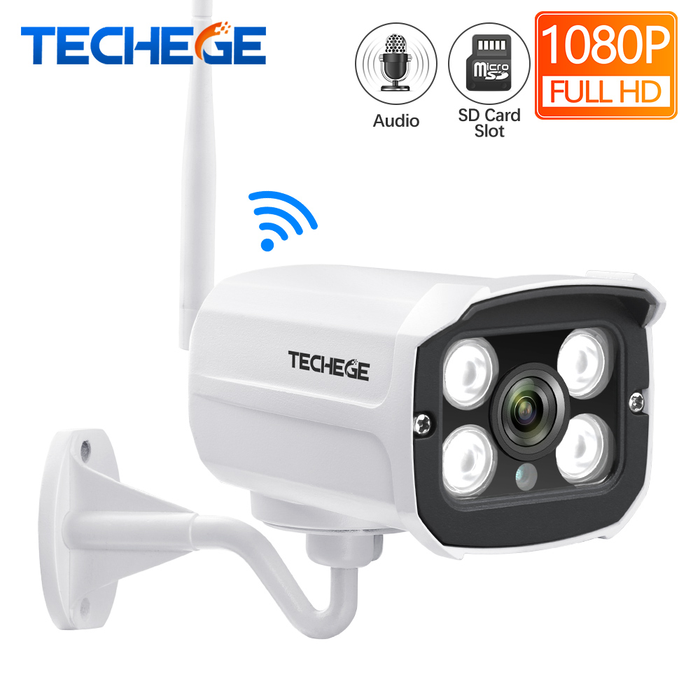 Techege HD 1080 P Wireless SD Karte Slot Audio Kamera 2.0MP wifi Sicherheit Kamera IR Nacht Vision Metall Wasserdichte Outdoor yoosee