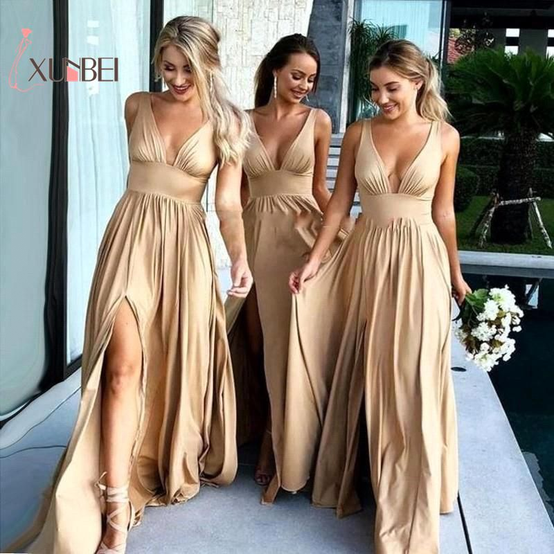Robe Demoiselle D'honneur Deep V Neck Champagne Bridemaid Dresses Long 2018 Sexy Side Slit Chiffon Prom Dresses Party Gowns