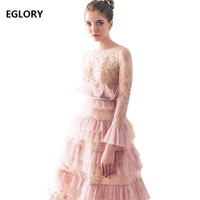 Top Quality New Fashion Wedding Party Women Dress Star Embroidery Lace Mesh Patchwork Long Sleeve Ball Gown Dress Vestido Festa