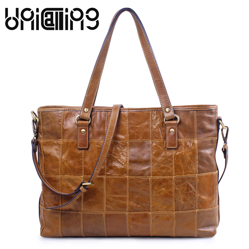 UniCalling Oil Wax Cowhide bags handbags women famous brands European and American Style Retro Genuine Leather women bag цена 2017
