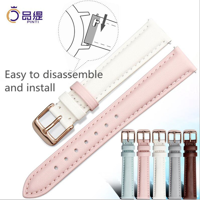 Fashion Mixed Colors Soft Calfskin Strap 12 to 20mm Pin Grain Genuine Leather Wa