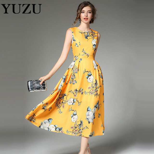 Herbst Gelb Blumendruckkleid Vintage Edlen und wunderschöne ...