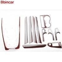 Bbincar ABS Plastic Wood Paint Interior Parts Window Switch Handle Trim Front Gear Shif Panel Cover For Audi A4L A4 L 2009 2016