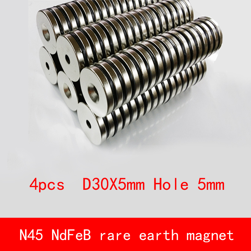 4PCS D30x5mm hole 5mm N45 strtip Strong NdFeB rare earth permanent magnet plating Nickel diameter 30X5MM
