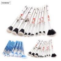 10Pcs Set Professional Makeup Brushes Set Kit Floral Ink Printed Handle Eye Shadow Eyebrow Lip Eye