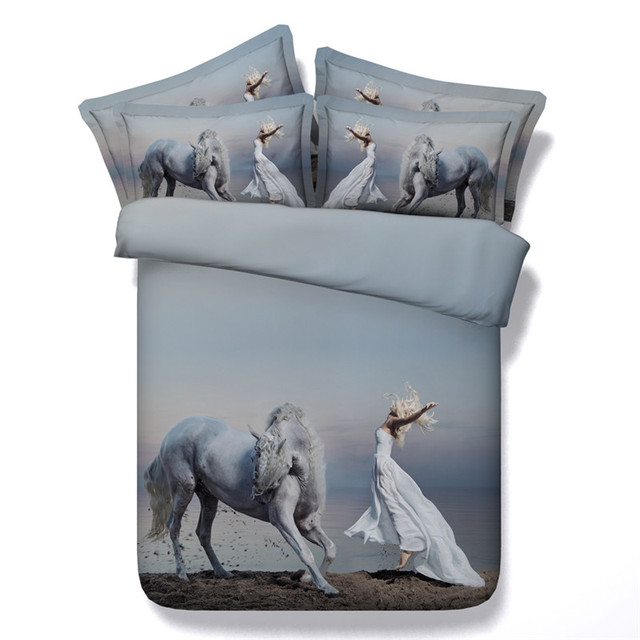 3d Reactive Bedding Sets Horse Animals 4/3PC Quilt Comforter Cover Set Twin  Queen King