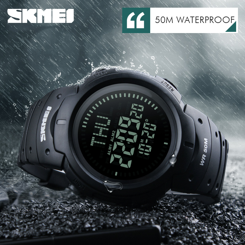 SKMEI 1231 Compass Watch Multifunction Digital Watches Mens Countdown Summer Time Timekeeping Wristwatches LED Relogio Masculino