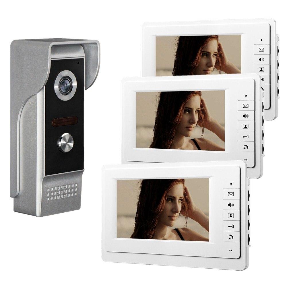 een buitenunit met 3 binnenunit Bedraad video deurbel intercomsysteem - Veiligheid en beveiliging