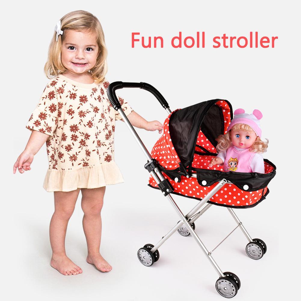 Children Doll Stroller Toy Baby Play House Ladybuged Trolley Not Including Simulation Doll Toy Organizer Cart
