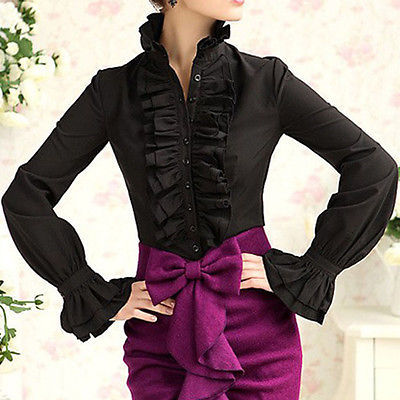 Victorian Women Lady Long Sleeve Shirt Tops High Neck Frilly Ruffle Shirt Blouse