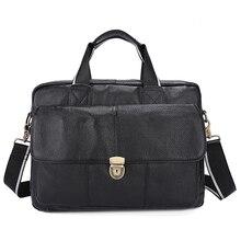 Genuine Leather Men Business Briefcase Hot Sale Man Fashion Messenger Flap Bag Men's Crossbody Shoulder Handbag Portfolio Litchi