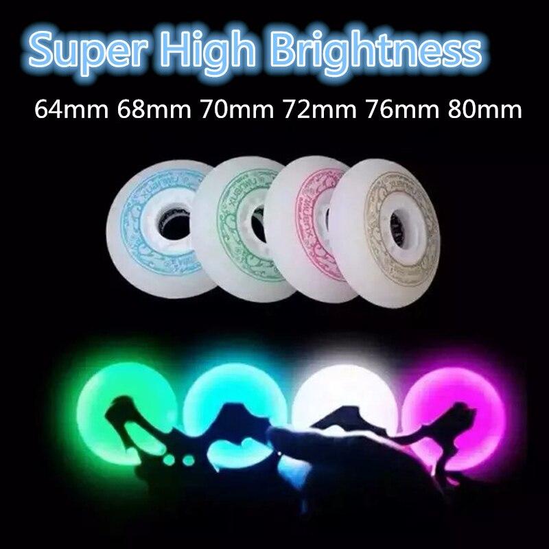 Super Hög Ljusstyrka 64mm 68mm 70mm 72mm 76mm 80mm LED Flash Glänsande Inlineskridskor Hjul för Barn Barn Vuxen Roller Patines