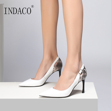 2019 New Women Leather Pumps Black White Fashion High Heel Shoes for 8.5cm