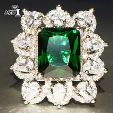 Green Zircon Engagement-Rings Yayi Jewelry Wedding Silver-Color Princess Gifts Girls