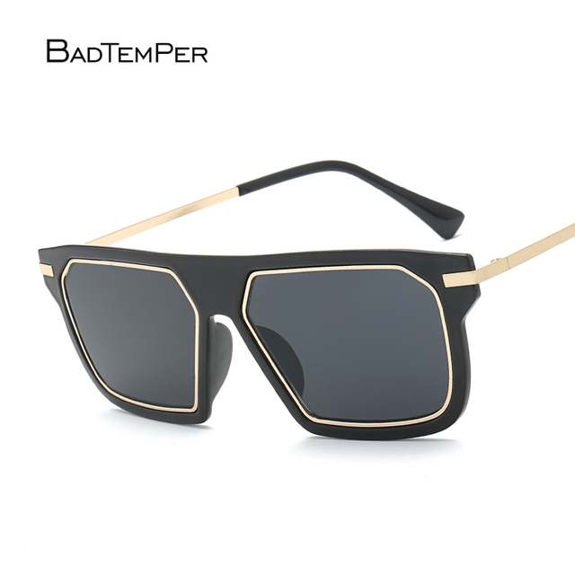 59bc9e967b68 Badtemper Vintage Men Square Sunglasses Women Brand Designer Fashion Women  Golden Alloy Frame Sun Glasses Oversized Black New