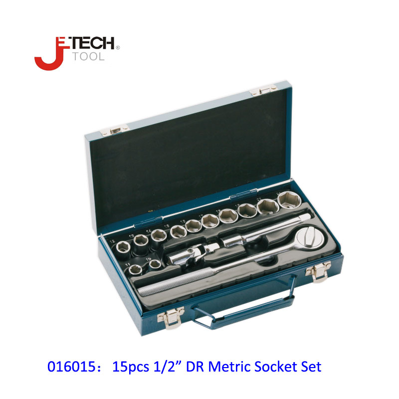 Jetech 15pcs 1/2 DR metric socket wrench set with ratchet extention bar 5 inch kit ferramenta car tool sets lifetime guarantee chrome vanadium steel ratchet combination spanner wrench 9mm