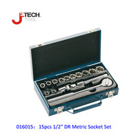 Jetech 15pcs 1/2 DR metric socket wrench set with ratchet extention bar 5 inch kit ferramenta car tool sets lifetime guarantee