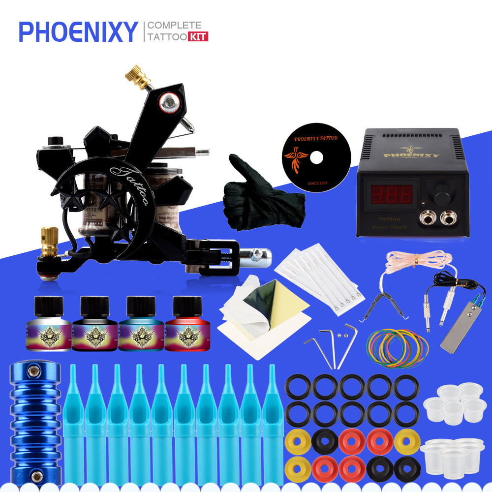 Beginner Complete Tattoo Kit One Professional Tattoo Machine Kit Coil Machine Guns 4 Inks LCD Power Supply Needle Grips Set itatoo tattoo kit cheap beginner coil tattoo machine set kit tattoo ink rotary machine 2 gun liner supply professional tk1000005 page 4