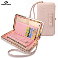 Luxury Women Pink Wallet Phone Bag Leather Case For IPhone 7 6 6s Plus Samsung Galaxy