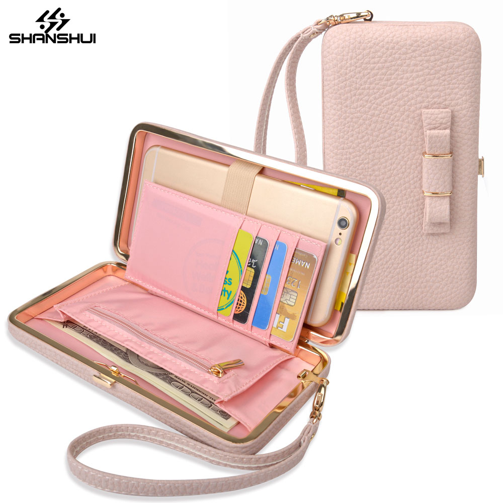 Luxury Women Pink Box Wallet bowknot Phone Bag Handbag Leather Case For iPhone 6 7 <font><b>8</b></font> plus <font><b>X</b></font> Xiaomi Mi6 Redmi <font><b>5</b></font> plus 4X note 4X