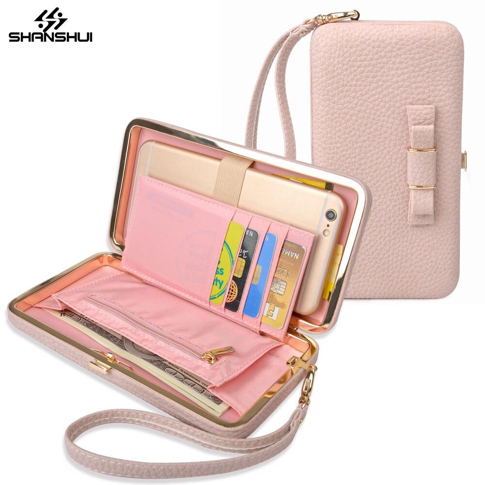 Luxus Frauen Rosa Box Geldbörse bowknot Handytasche Handtasche Ledertasche Für iPhone 6 7 8 plus X Xiaomi Mi6 Redmi 5 plus 4X hinweis 4X