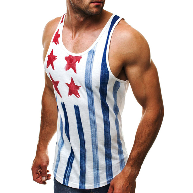 2018 Gyms Bodybuilding Tank Tops hombres músculo rayas imprimir Sportwear  Mens camisetas sin mangas Hombre chaleco 1c48b225c736b