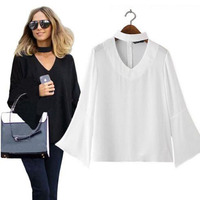 New Arrivals Women V Neck White Black Chiffon Blouse Stylish Shirt Chic Halter Top Flare Long