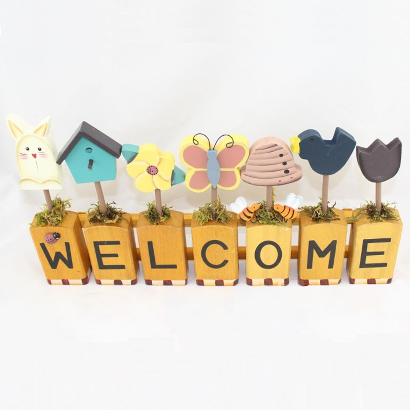 1pc 40x20x4cm 16x8x1.5 Hand Painted Wooden Board Welcome For Art Home Decoration Shop Gift Wedding Decoration Favors Butterfly ...