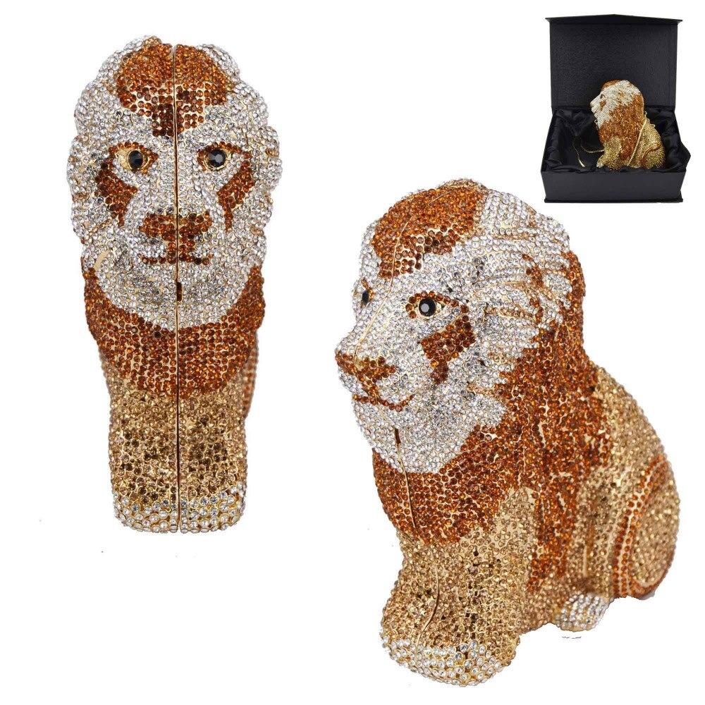 Tier Designer Luxus Kristall Abend Tasche lion leopard Kupplung Geldbörse Frauen Handtaschen Kette Tag Kupplungen SC911-in Kupplungen aus Gepäck & Taschen bei  Gruppe 1