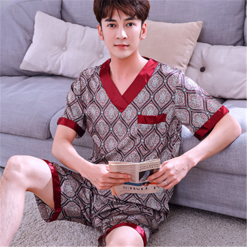 Shorts V-neck Size L-3xl Silk Sleepwear Plus Sexy Modern Men's Sleep & Lounge Mens Satin Silk Pyjamas Set Sleepwear Loungewear Short Sleeve T-shirt Underwear & Sleepwears