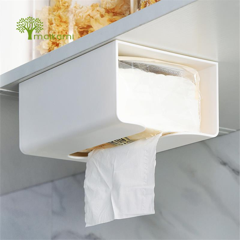 Us 12 79 20 Off Kitchen Paper Storage Box Paste Wall Mounted Towel Holder Toilet Tissue In Bo From Home Garden On