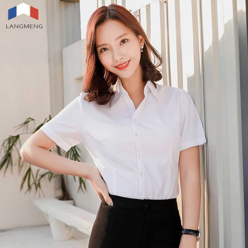 Langmeng Women short sleeve shirt lady's solid color office social shirts white color slim fit blouses blusa feminina