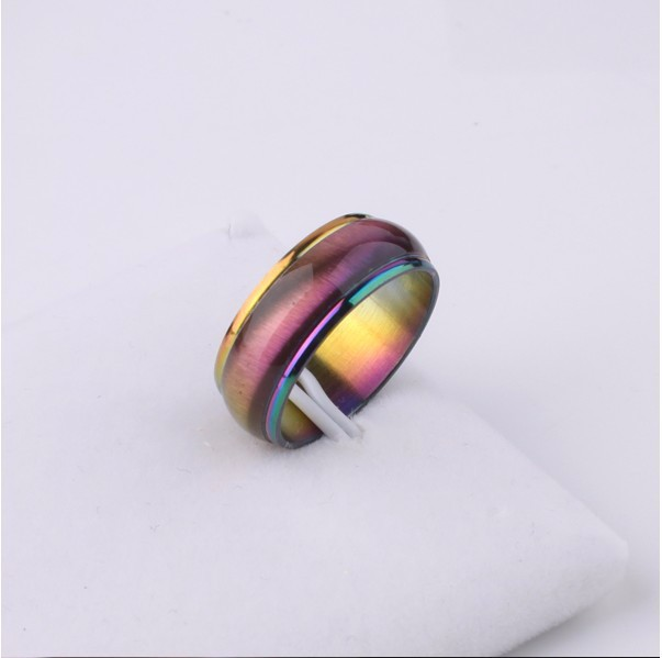 Fashion Men Women Rainbow Colorful Ring Titanium Steel Wedding Band Ring Width 4mm Size 5 13